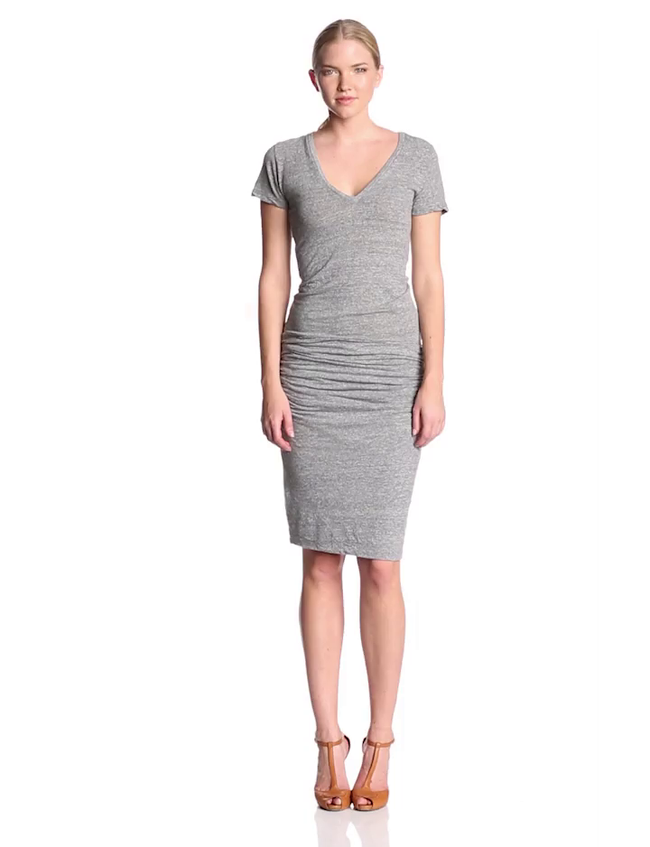 1bc52d31216 Amazon.com  Monrow Women s Short Sleeve Shirred Tee Dress  Clothing