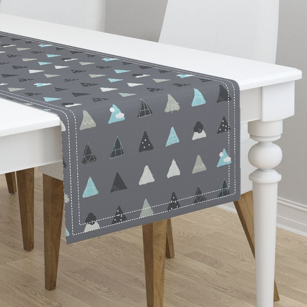 Table Runner - Window Pane Glass Mod Cartoon Geometric Triangles View Scenes Gender Neutral by Friztin - Cotton Sateen Table Runner 16 x 108