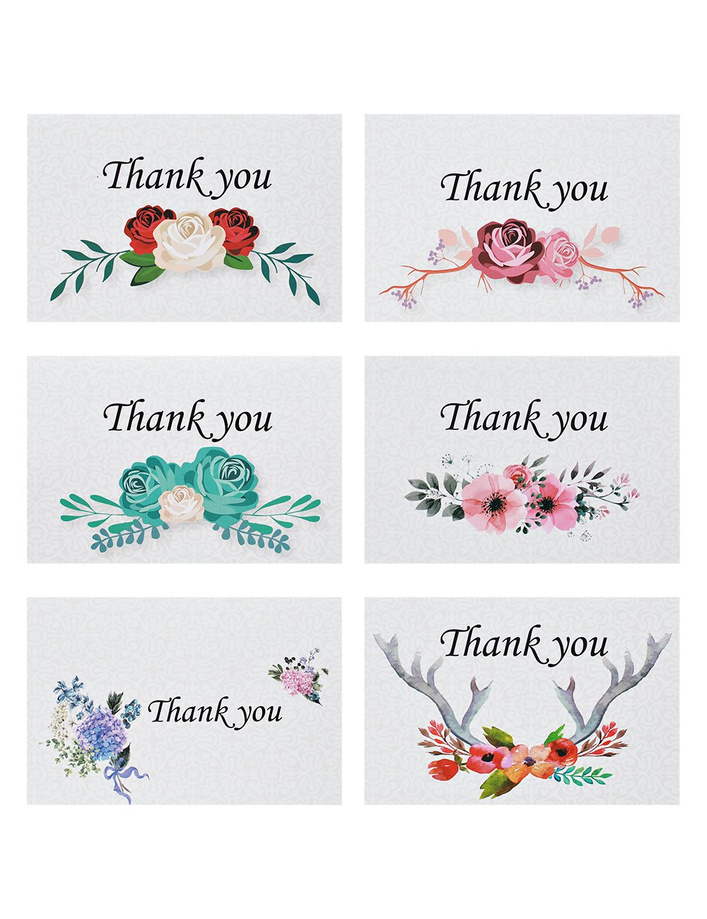 Yitai 48 Folded Thank You Cards Floral Flower Greeting Cards Notes