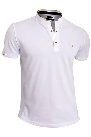 Hombre Polo Camisa Casual con Cuello Alto Manga Corta 100% algodón ...