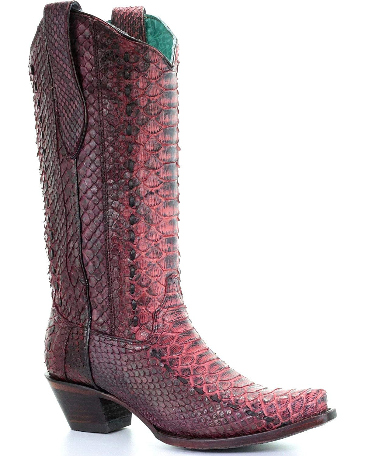 8c2a0dc5df5 CORRAL Women's Full Python Woven Cowgirl Boot Snip Toe