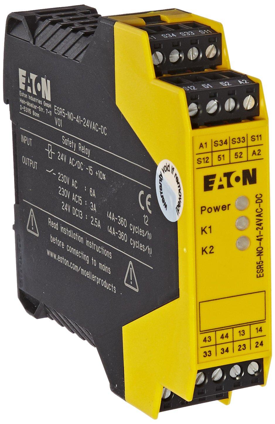 Eaton ESR5-NO-41-24VAC-DC Safety Relay, Single Channel Main Unit, 4 NO Safety Output, 1 NC Signal Output, 24 VAC/DC Control Voltage