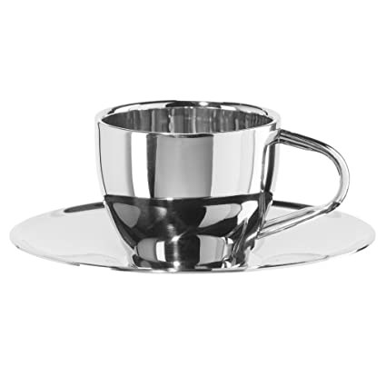 2655cd6e456 Amazon.com | Oggi 6593.0 Cup & Saucer Double Wall Espresso Cup with Saucer  (4 oz), Stainless: Cup & Saucer Sets