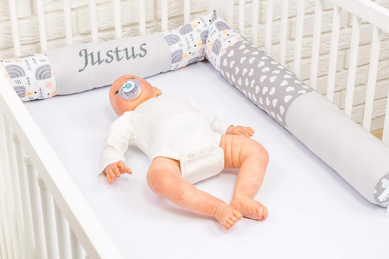 Amilian Bettschlange Nestchen Nestchenschlange Baby Nest f/ür Kinderbett ideal als als Schutz vor Gitterst/äben Bettrolle 210 cm personaliesiert mit Namen und Datum bestickt BOA101