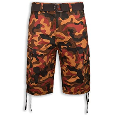 Trending Apparel New Men Caro Army Camo Shorts Brown Red Free Belt 6  Pockets Military Short 4deced3d280