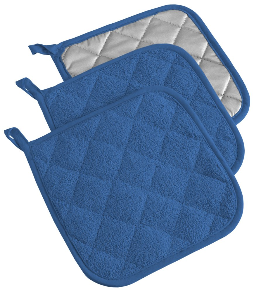 DII, Cotton Terry Pot Holders, Heat Resistant and Machine Washable, Set of 3, Blueberry