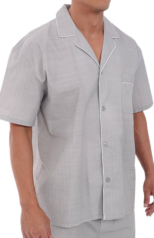 Alexander Del Rossa Mens Cotton Pajamas Short Button-Down Woven Pj Set