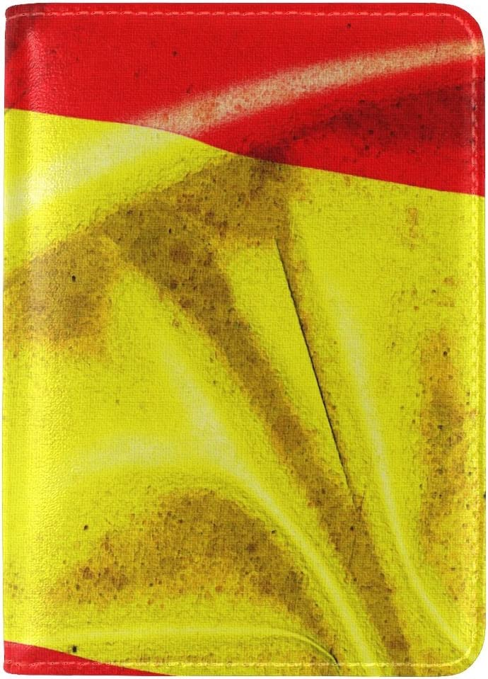 Spain Emblem Flag Leather Passport Holder Cover Case Travel One Pocket