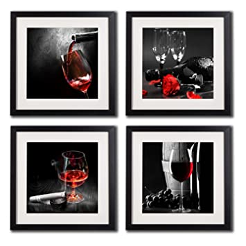 Framed Wine And Grapes Wall Art Prints Posters For Living Room Decorations Black White Red