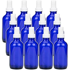 Hedume 12 Pack Glass Spray Bottles, 4oz Empty Glass Bottles, Blue Refillable Bottle with Fine Mist Sprayer & Dust Cap for Essential Oils, Perfumes, Homemade Cleaners etc.