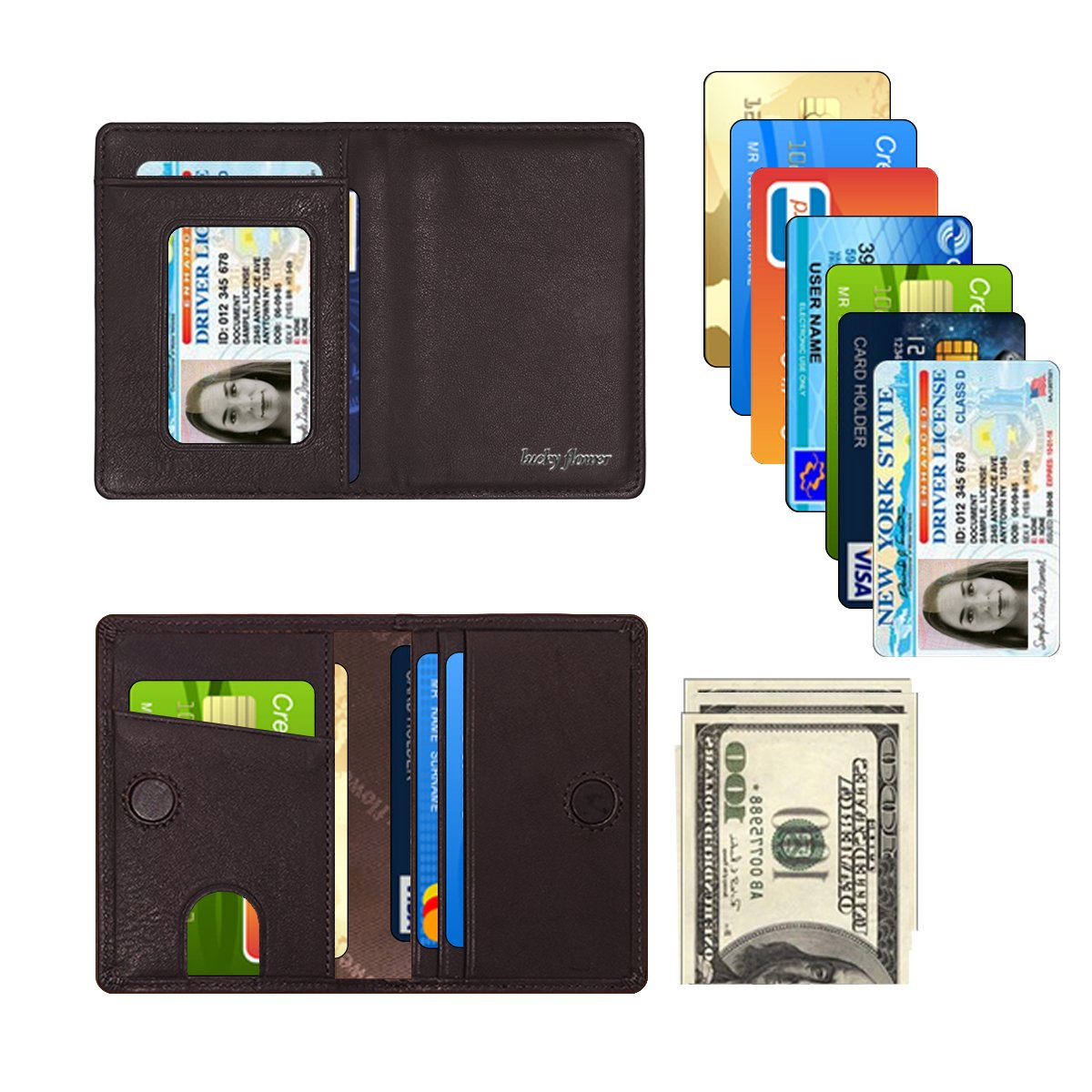 LUCKY FLOWER RFID Blocking Travel Wallet for Men,Minimalist Genuine Leather Slim Bifold Card Holder Purse(Coffee) by LUCKY FLOWER (Image #6)
