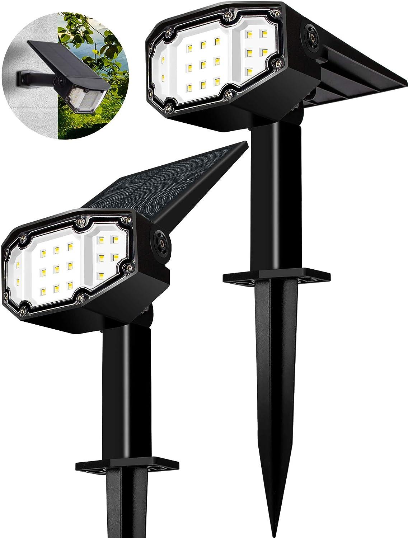 FLOWood Solarstrahler f/ür au/ßen 19 LED Solar Gartenleuchte Solarleuchte LED Strahler f/ür au/ßen Wandleuchte 2 Helligkeiten IP65 Kaltwei/ß 2 St/ück