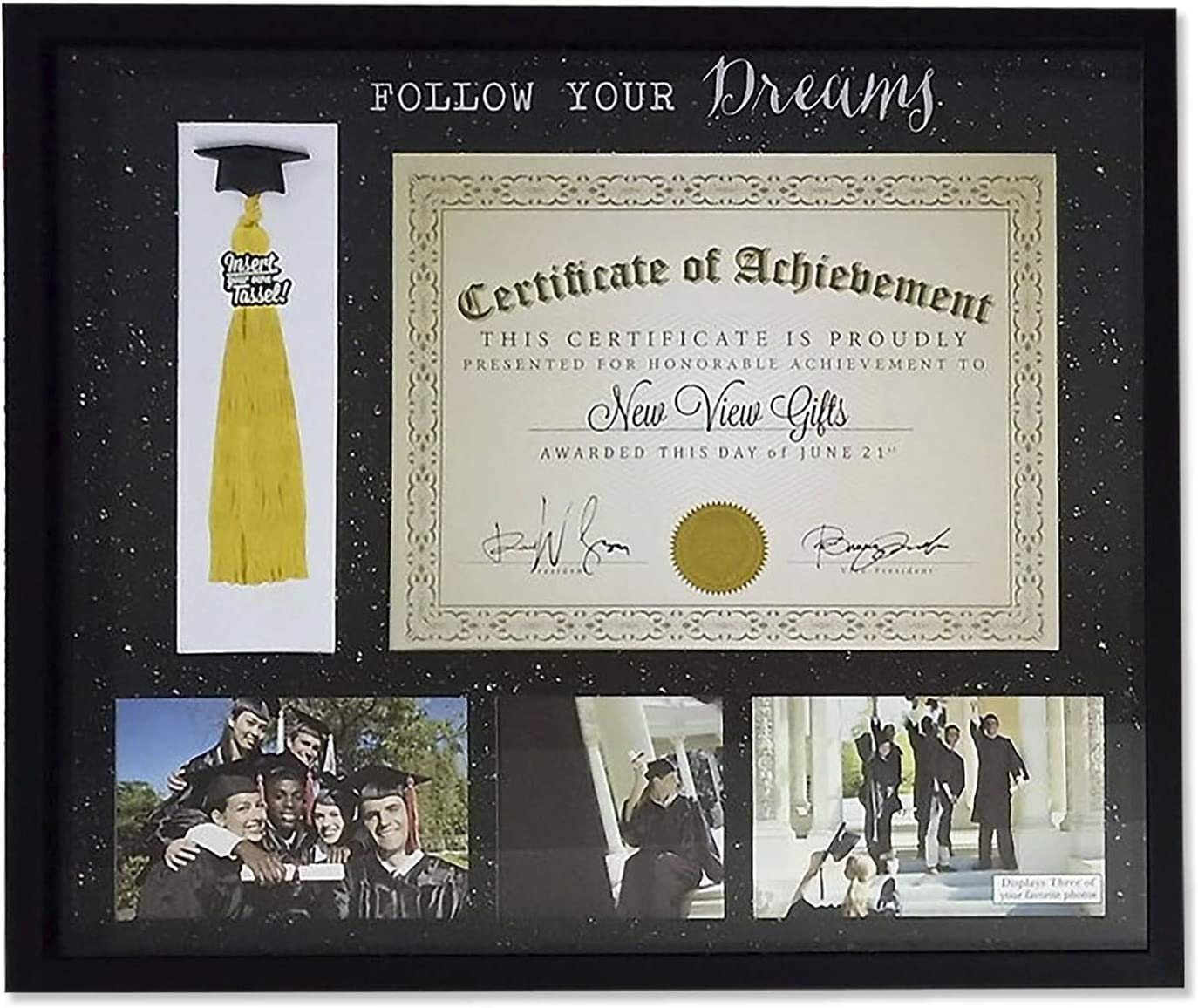 Prinz Diploma And Tassel Holder Collage Picture Frame With 3 Photo Openings Black Glitter Background Follow Your Dreams Ps Amazon Co Uk Kitchen Home