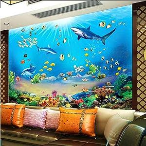 hwhz Photo Wallpaper Hd Underwater World Shark Tropical Fish 3D Mural Modern Aquarium Living Room Tv Kids Bedroom Backdrop Wall Decor-120X100Cm