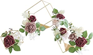 """Ling's moment Set of 3 Floral Geometric Cube Wedding Centerpieces Ornaments Blush Rose Flower Table Centerpieces for Wedding Party Decor (7"""" & 5.5"""" & 4"""")"""