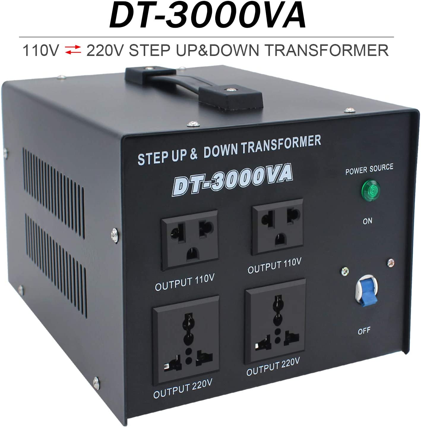Yinleader 3000W Voltage Transformer-3000 Watt Heavy Duty Step Up/Down AC 110V/120V/220V/240V Power Converter,with US Standard, Universal AC Outlets-Circuit Breaker Protection
