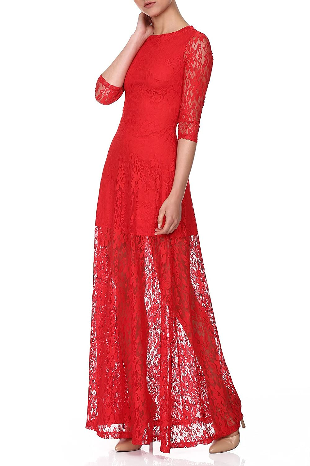 RED Isabel Damen Taltan Lace Maxi Dress with Flared Skirt