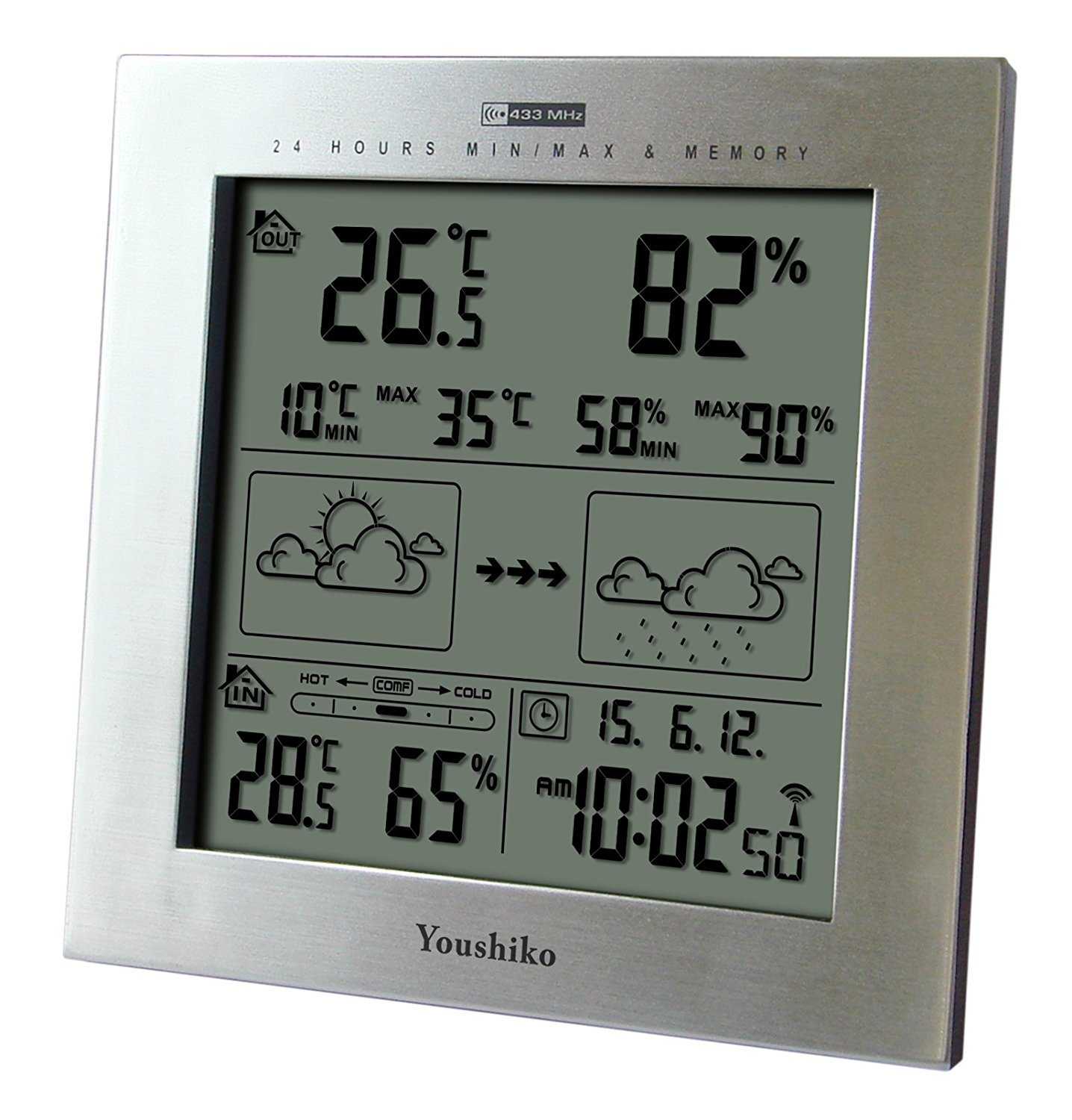 Youshiko Wireless Weather Station with Radio Controlled Clock ( UK Version ) , Indoor Outdoor Temperature Thermometer, Humidity, Date & Frost Alarm , Maximum & Minimum with 24 Hour Auto Reset YC9330