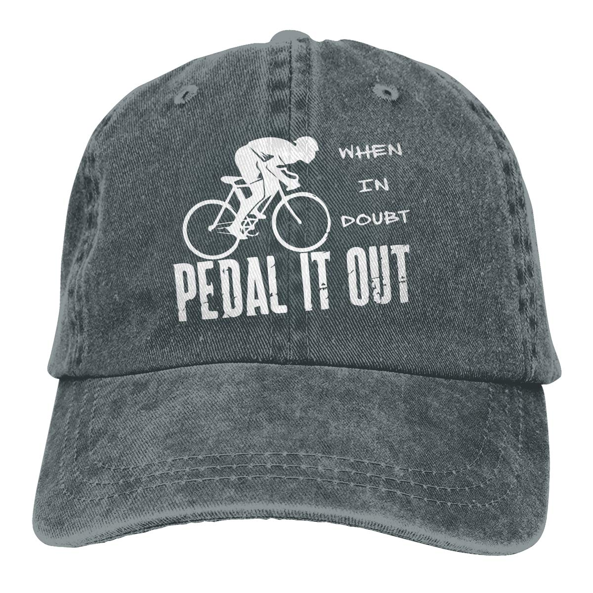 Men Women Classic Denim Jeans Baseball Cap When in Doubt Pedal It Out Headwear