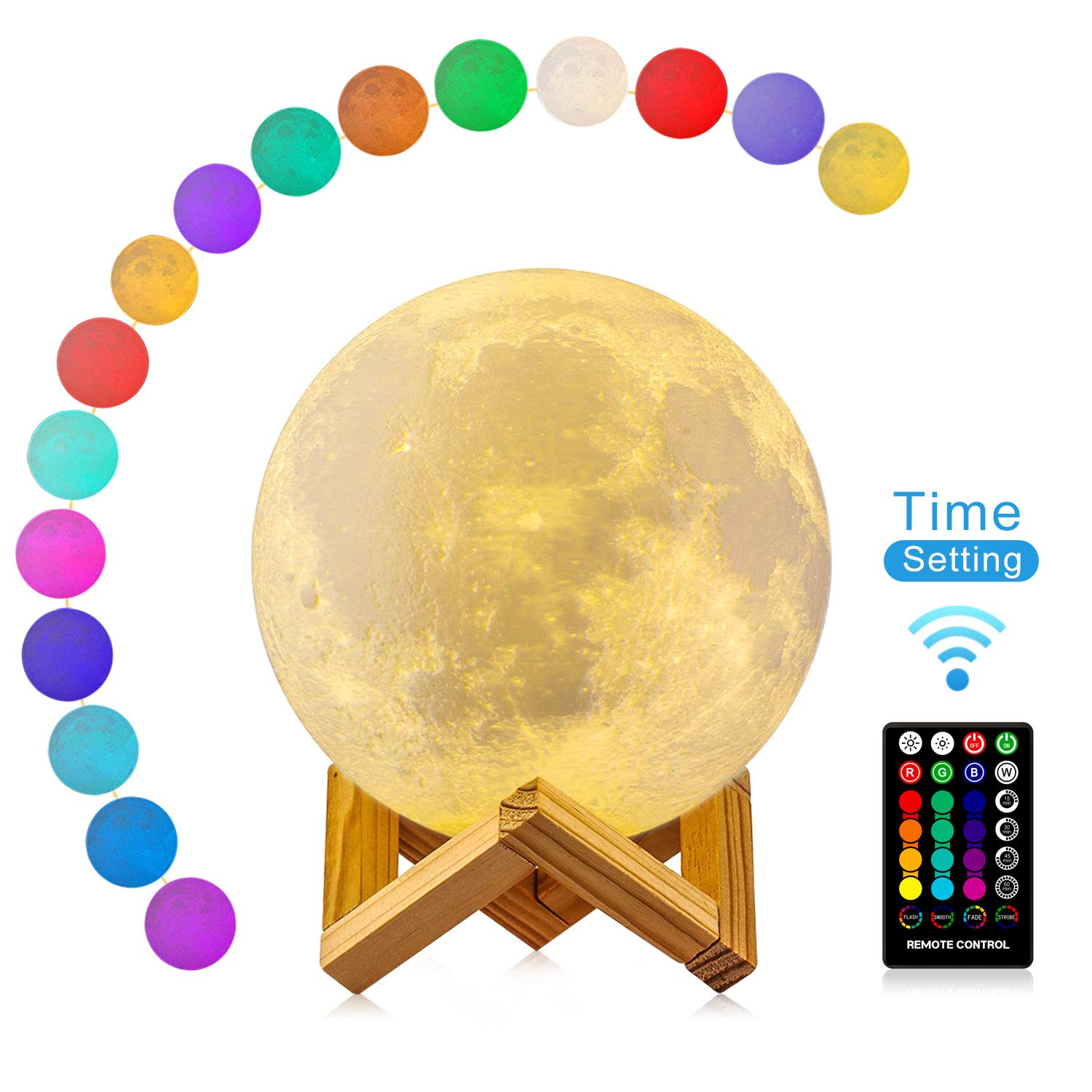Moon Lamp 3D Moon Night Light with Timing Setting, DTOETKD 16 Colors LED RGB Full Moon Lamp Remote & Touch Control USB Charging Dimmable Home Decorative Moonlamp for Kids Lover Birthday Christmas Gifts (15cm / 5.9in) moonlamp-15cm-16cr