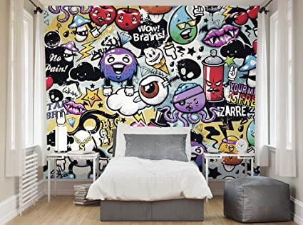 ohpopsi funky graffiti doodle monsters xl wall mural amazon co ukohpopsi funky graffiti doodle monsters xl wall mural amazon co uk kitchen \u0026 home