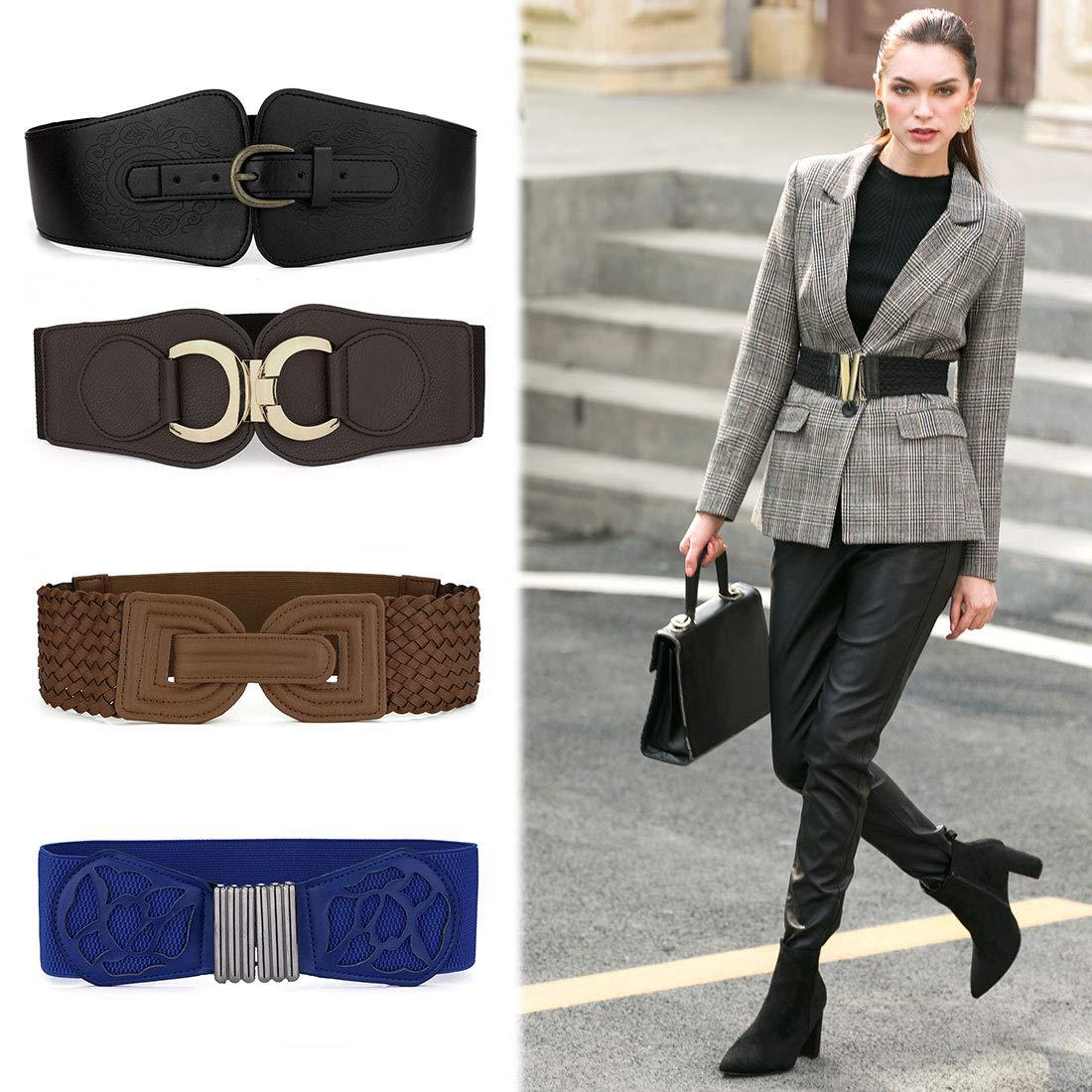 Allegra K Ladies Interlocking Buckle Stretchy Band Waistbelt Cinch Belt Black-4 one size