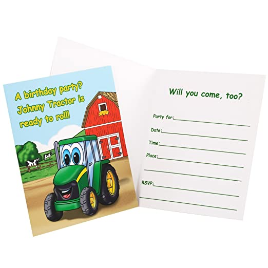 Amazon.com: Party Destination 209005 Johnny Tractor Invitations ...