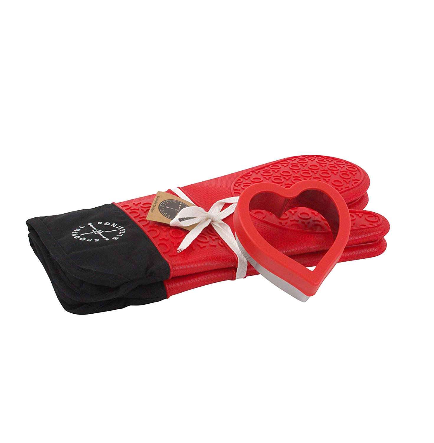Oven Mitts -1 Pair Extra Long Red Professional Silicone Oven Mitt - With Black on Inside, for Easy Cleaning. Heat Resistant Mittens - Kitchen 500 Degrees F-Cooking Gloves -1 Heart Shape Cookie Cutter.
