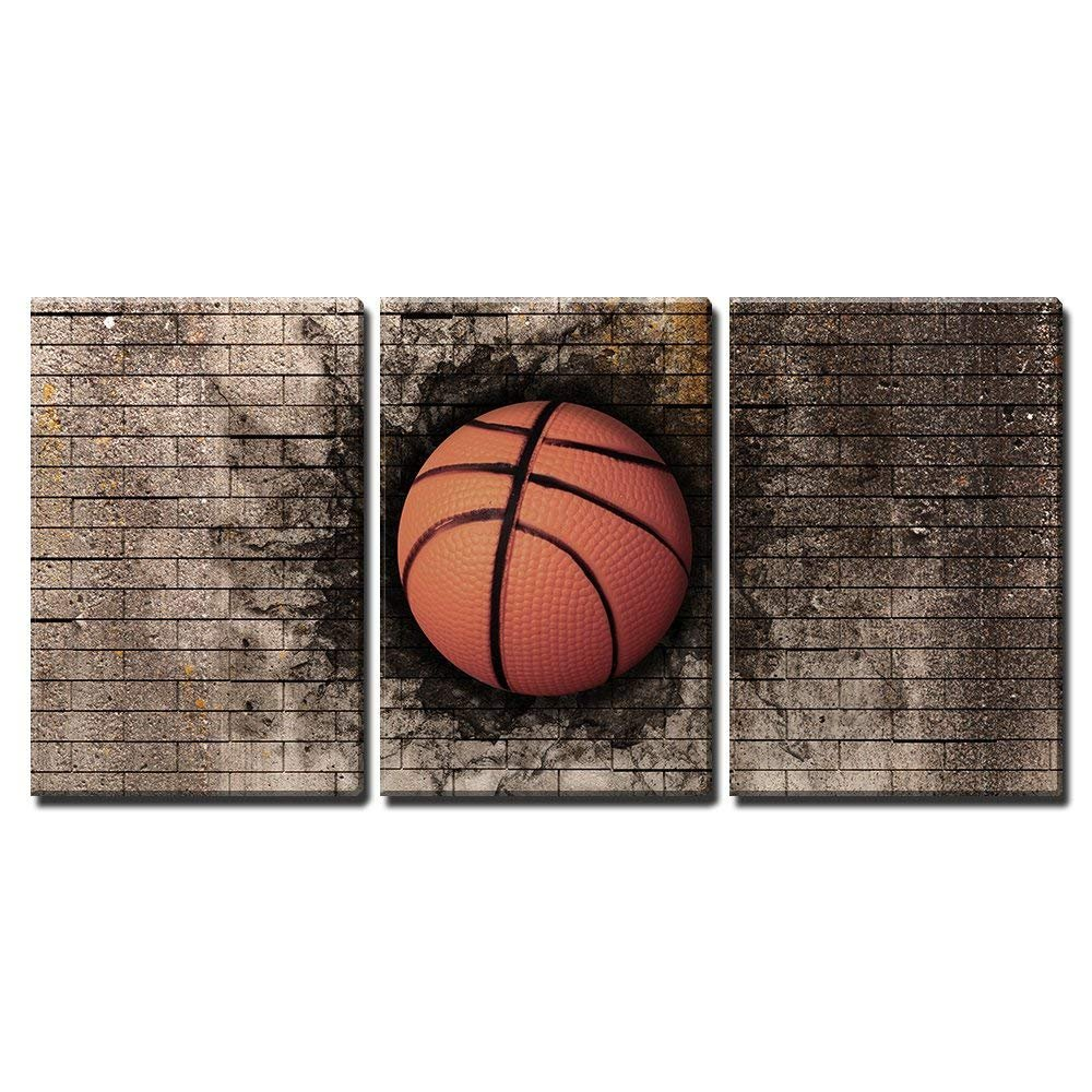 3 Piece Canvas Wall Art - 3D Rendering of a Basket Ball Embedded in a Brick Wall - Modern Home Art Stretched and Framed Ready to Hang - 16
