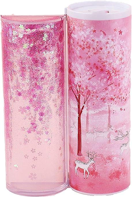 Estuche cilíndrico multifunción translúcido para lápices y bolígrafos, color rosa y azul, color Pink Sakura talla única: Amazon.es: Oficina y papelería