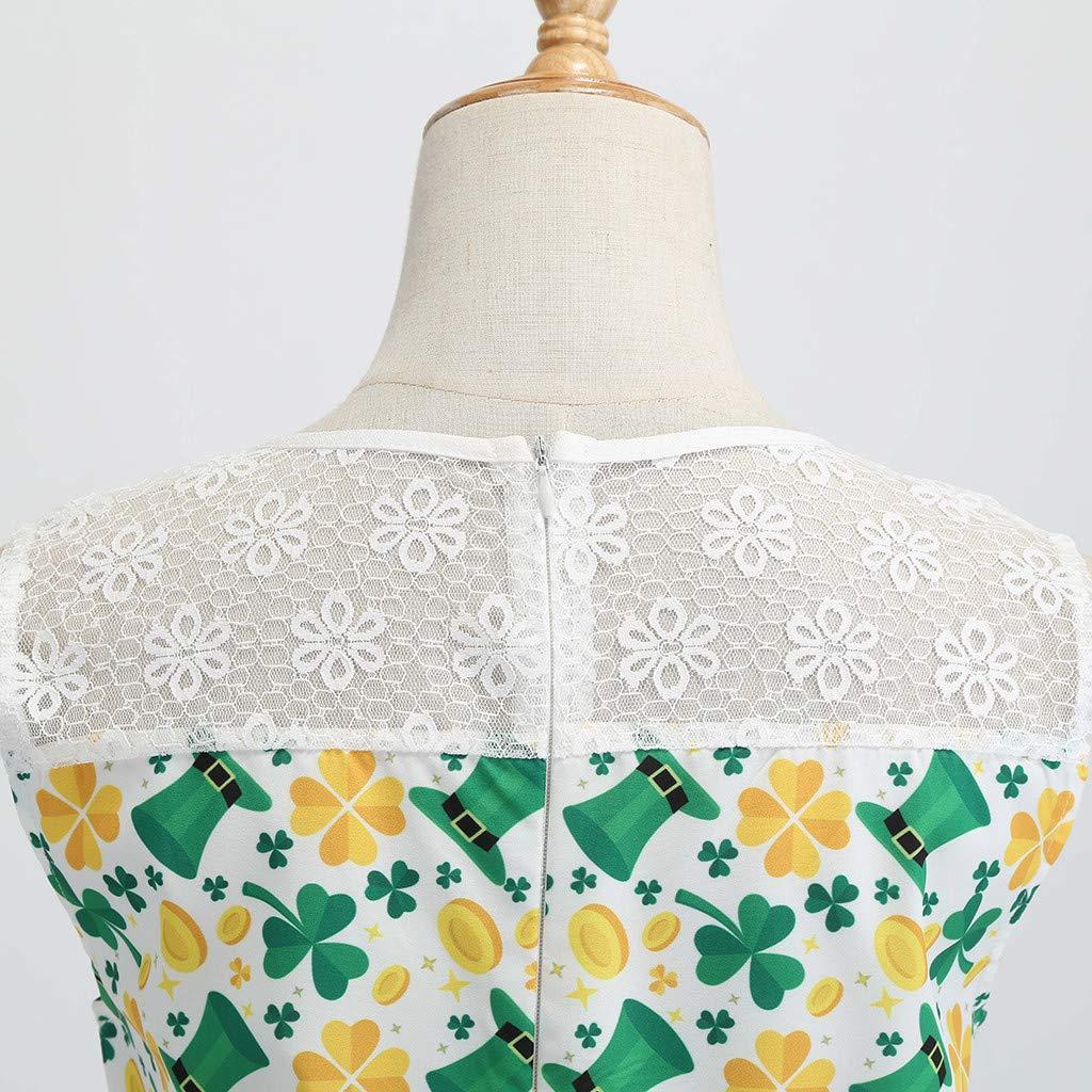 HTDBKDBK St Patricks Day Women Vintage 1950s Retro Halter Clover Print Sleeveless Prom Swing Dress Daily Dress