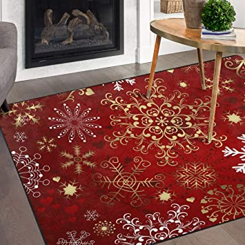 Naanle Christmas Snowflake Non Slip Area Rug For Living Dinning Room Bedroom Kitchen 5 X 7 58 X 80 Inches Christmas Winter Holiday Nursery Rug Floor Carpet Yoga Mat Furniture Decor