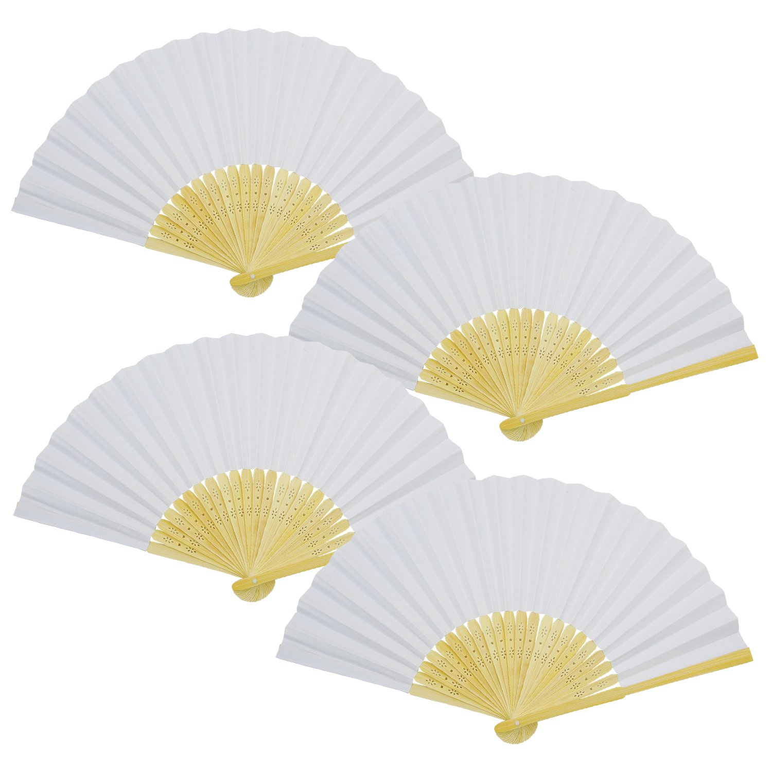 Granmp 20pcs White Bamboo Paper Fans, Folding Fan Handheld Fans Folded Fan for Wedding Party and Home Decoration, Kids Drawing