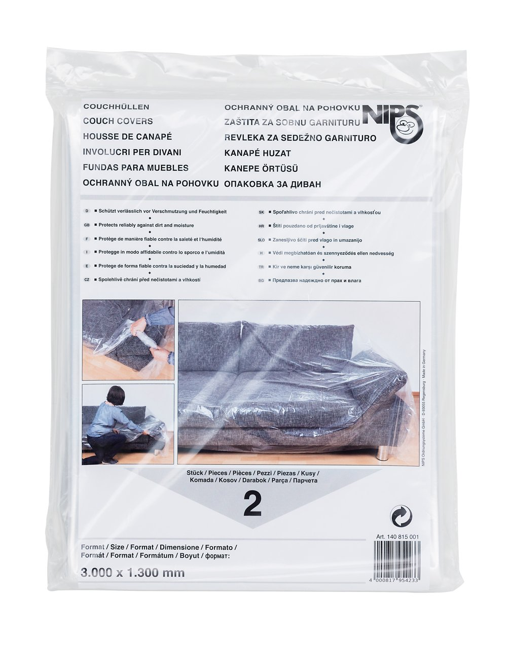 NIPS 140815001 Couchhü lle 2er Packung (Grö ß e 3000 x 1300 mm), LDPE-Folie transparent
