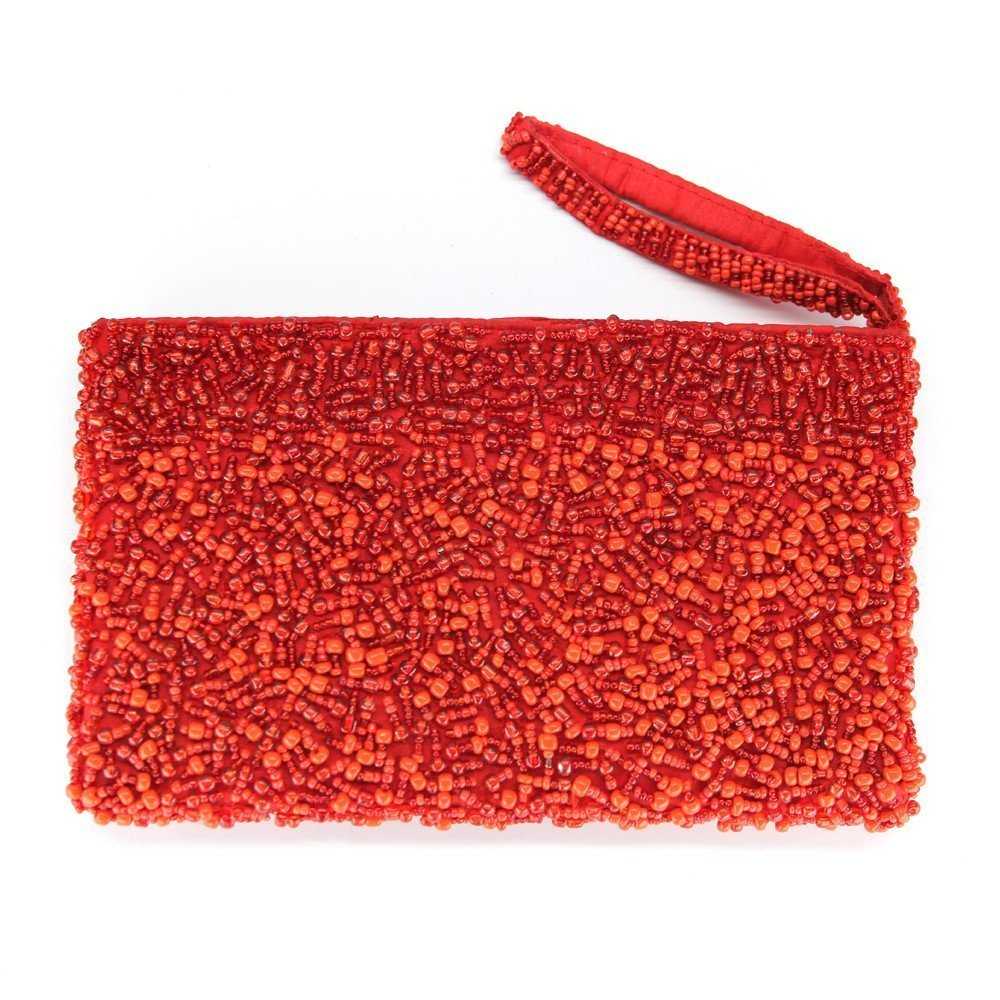 Zippered glass bead wristlet purse clutch Fair Trade - handmade - red crimson