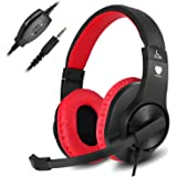 Headset Gaming for PS4 ,Xbox One Controller ,Wired Noise Isolation, Over-Ear Headphones with Mic ,Stereo Gamer Headphones 3.5mm, Earphone for Laptop, Mac, PC (Red)