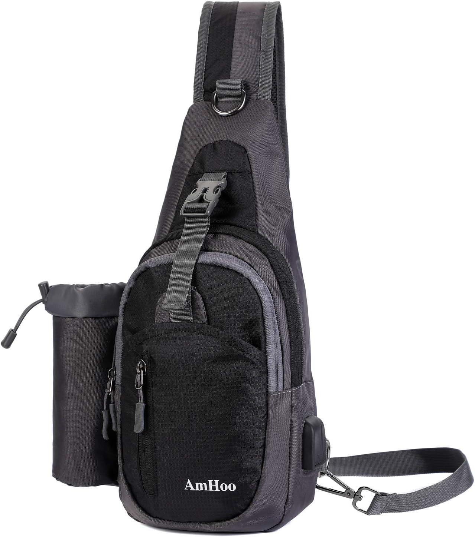 AmHoo Sling Backpack Chest Shoudler Crossbody Bag Waterproof Hiking Daypack Small Black
