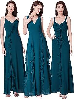 1687a86c6c42 Ever Pretty Women's Elegant Floor Length A Line Vneck Teal Chiffon Long  Evening Dresses with Ruffles