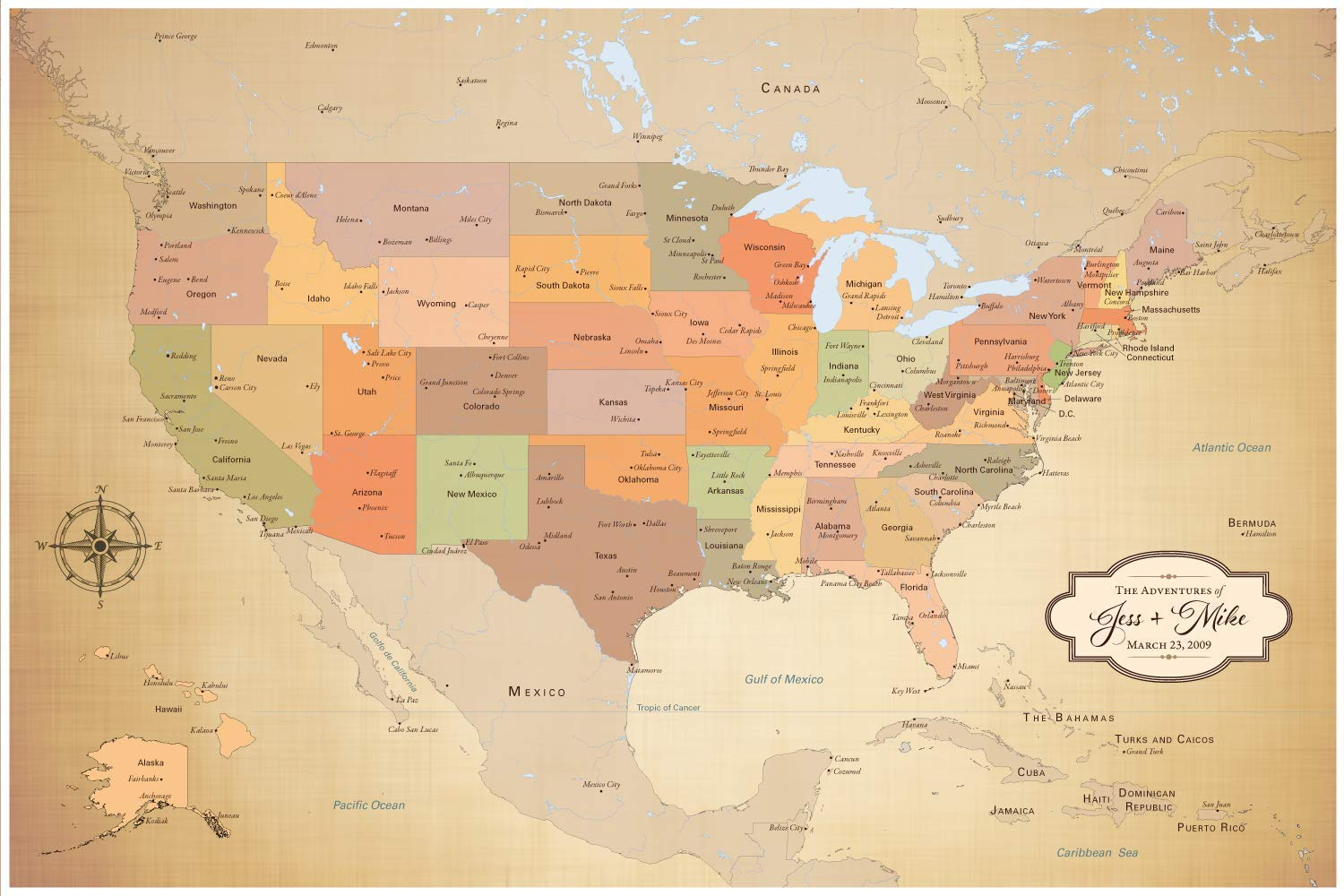 Amazon.com: Personalized Push Pin United States Map with ...