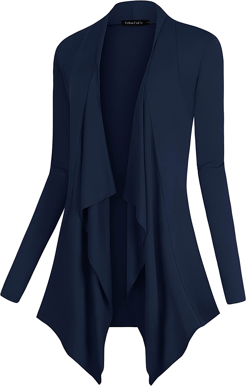 Urban CoCo Womens Drape Front Open Cardigan Long Sleeve Irregular Hem