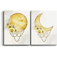 Cuadros Decorativos de Luna Llena y Menguante de 30 x 40 x 2cm (Pack 2) para Decoración de Salón, Dormitorio, Cocina y…
