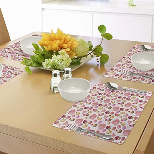 Set 4 BOXED 29cm Retro Treats Round Placemats Table mat Cupcake Cork Backed