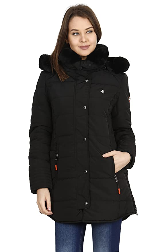 dbe7eeeff HIVER Women's Nylon Jacket 100% Water Proof Full-Sleeved Winter Jacket with  Hood for Minus Degree