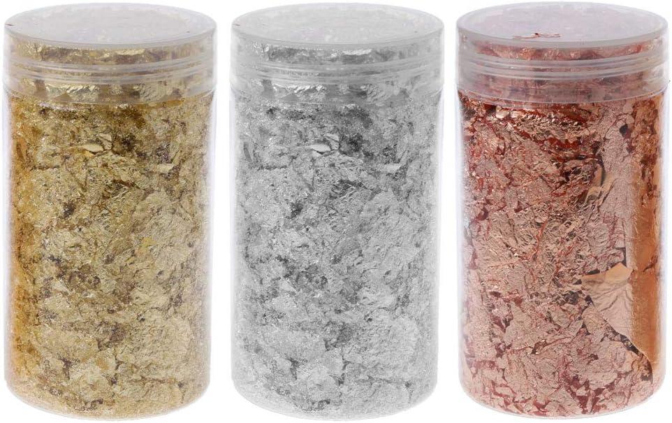 Bolsa de almacenamiento Gold Leaf Flakes, 5g Gold Silver Gilding Flakes Metallic Foil Flakes Resina Rellenos Joyería Fabricación Pintura Nail Art Craft