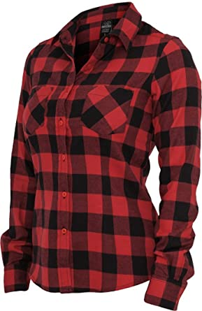 386b5914 Amazon.com: Urban Classics Women's TB388 Checked Flannel Long Sleeve Shirt:  Clothing