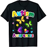 Autism Awareness T-Shirt Butterfly Puzzle Pieces Gift