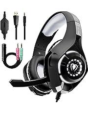 Beexcellent Stereo Gaming Headset für PS4 Xbox One PC mit Noise Cancelling Mikrofon Bass Surround Soft Speicher Ohrenschützer LED Lichter und Geflochten Kabeler Kopfhörer
