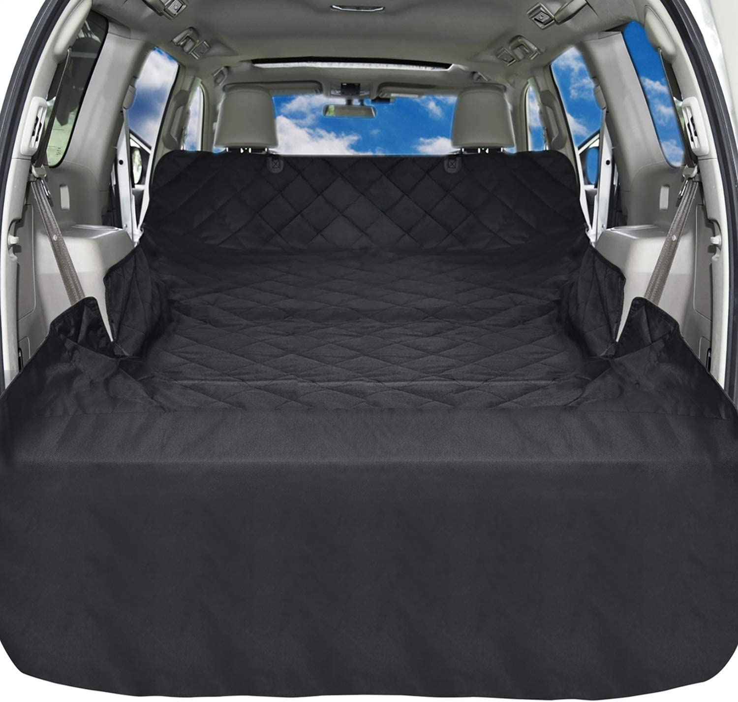 iSPECLE SUV Cargo Liner for Dogs, Non Slip Pet Car Seat Cover with Anchors for Stable Fit – Waterproof Cargo Liner Cover for SUVs and Cars Universal Fit for All Cars, Sedan, Wagon Mini Van, Black