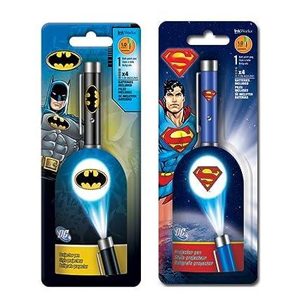 Batman And Superman Projector Pens, Bundle Of 2 Super Hero Pens