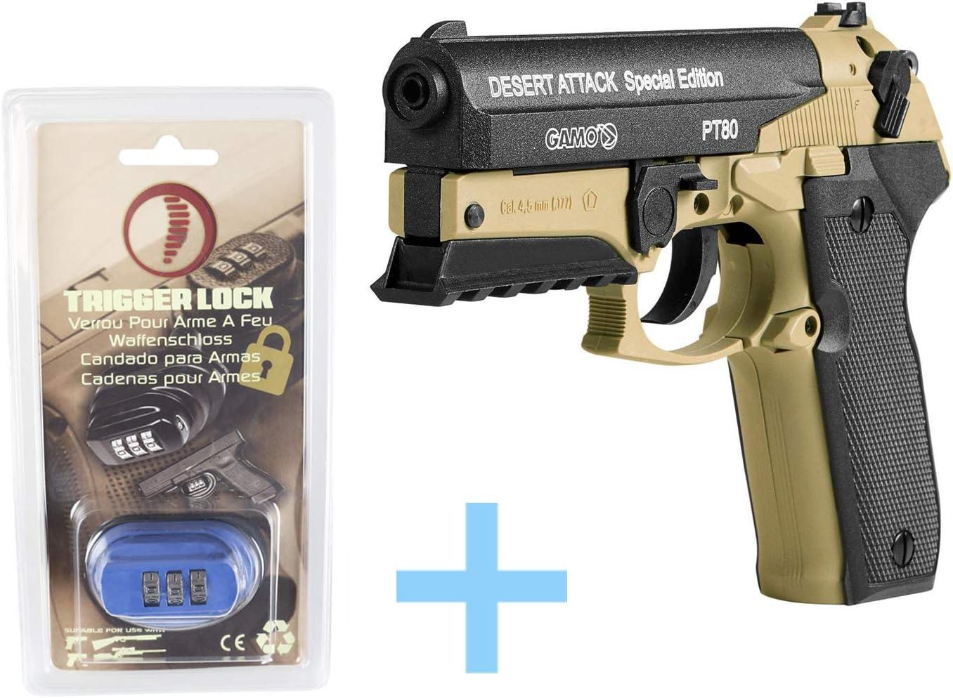 Gamo Pack Pistola Aire comprimido (CO2) PT-80 Desert Attack Edición Especial, Pistola perdigones, Potencia 3 Julios, Calibre 4,5 mm + Balines Match (250 uds) + Bombona CO2 + Candado Seguridad Yatek.